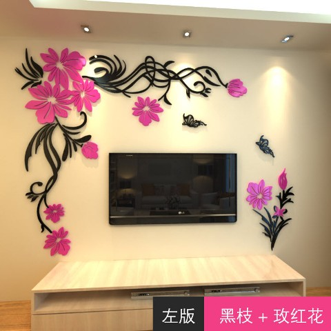 New-arrival-Crystal-three-dimensional-wall-stickers-Fashion-flower-vine-Butterfly-tv-wall-acrylic-3d-relief